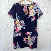 Nwt Joules Womenand039s Size 12 Us Riviera Print Jersey Dress Navy Whitstable Floral