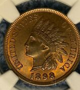1898 Indian Head Cent Penny Ngc Ms 65 Rb Red/brown Mint State Certified