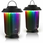 2 Pack Outdoor Bluetooth Speaker Wireless Lantern Speakers With Led Color Lights