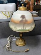 """Vintage Antique Brass Leviton 14"""" Lamp With Restored Painted Glass"""