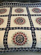 Vintage Completed Handmade Flower Quilt 85x95 Inches, Tears Repairs Cutter