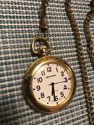 Milan Pocket Watch Gold Toned W/ Leather-like Case. Mln1042 Tested, New Battery