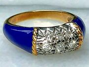 Diamond 18k Yellow Gold Ring Cobalt Blue Enamel Twisted Cable Horizontal Dome 7