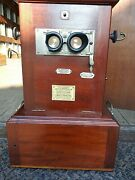 3d Taxiphote Jules Richard 6x13 19th Century W/ Slide Storage And Pedestal Stand