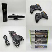 Microsoft Xbox 360 250gb Slim Console W/ Kinect 2 Controllers 14 Games + More