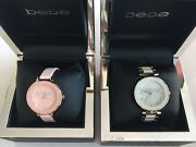 Bebe Watches Crystal Embellished Logo Pink White Gold Faux Leather And Metal Nib