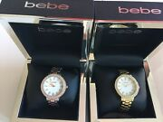 Bebe Watches Crystal Embellished Mother Of Pearl Face Rose Gold 2 Tone Nib New