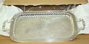 New In Box Vintage Leonard Etched Footed Silverplate 24 Tray 24 Inches Long