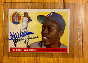 👑1955 Topps Hank Aaron W/auto Both Authentic Fantastic Eye Appeal 🔥🚀
