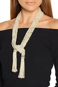 Kenneth Jay Lane Kjl Glass Necklace Pearl 5 Rows Lariat Rhodium Statement New
