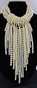 Kenneth Jay Lane Kjl Waterfall Pearl Statement Unsigned Necklace Multistrand New