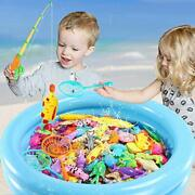 Magnetic Fishing Game 45 Pc Ocean Sea Floating Fish Colorful Animals With Net Po