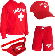 Lifeguard Officially Licensed Mens Halloween Costume Combo Pack Hoodie, Shorts,