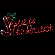 Jesus Is The Reason Candy Cane Red Led Christmas Nativity Sign Yard Art Outdoor
