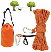 Dog Tie Out Cable For Camping 50ft Portable Overhead Trolley System For Dogs