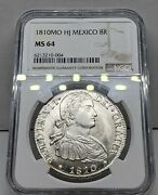 1810 Mo Hj Mexico 8 Reales. Ngc Ms64. Incredible Coin. Amazing Luster And Strike