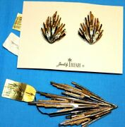 Pristine Silverandgold Tone Pin And Earring Set Signed Crown Trifari With Tagscard