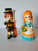 Vintage Inacro Pilgrim Boy And Girl Thanksgiving Colonial Fall Harvest Figurines