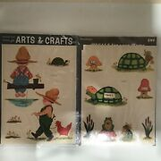 Lot 2 Retro Vintage Meyercord Decals Boys Chickens Turtle Mushrooms Frogs 1532-e