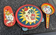 Vintage Tambourine, Clapper And Wind Up Circus Clown Tin Litho Toy Noisemaker Lot