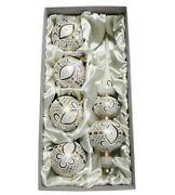 Set 5 Czech Blown Glass Christmas Tree Ornaments Baubles And Topper Gold White