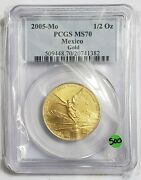 2005 1/2 Oz Gold Mexican Libertad Pcgs Ms70 Coin - 500 Minted.