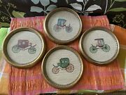 Vintage Set Of 4 Gold Round Framed 6 Inch Needlepoint Pictures Of Antique Cars