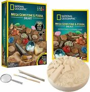 National Geographic Mega Fossil And Gemstone Dig Kit 20 Fossils New Expedited