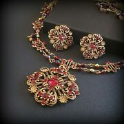 Vintage Avon Necklace And Clip On Earrings Set Red Rhinestone Victorian Style