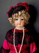 """Vintage Reproduction Of Antique French Fashion 19"""" Doll Bisque Head"""