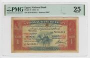 Egypt 1 Pound 1924 P18 Certified Pmg Vf 25 Rare Camel Banknote Hornsby Signature