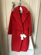 Max Mara Pink Coral Faux Fur Teddy 2020 Collection Coat