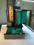 """Vintage Book Theme Jewelry/music Box, Working, Lacquered Wood, 15.25"""", 6 Drawer"""