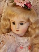 Antique Reproduction Steiner C Doll 17.5 In. Human Hair Doll Wig And Blonde Wig