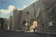 Javacheff Christo The Wall-wrapped Roman Wall Signed 25 X 37.5 Offset Lithograph