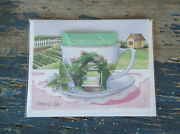 Lot Of 5 Kimberly Shaw Organic Peppermint Tea Cup Cards Farm Vintage 1999 Usa
