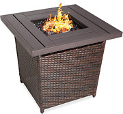 Best Choice Products 28in Fire Pit Table 50,000 Btu Outdoor Wicker Patio Propane