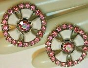 Rare And Minty Crown Trifari Signed Clip On Earrins With Pink Stones And Lucite