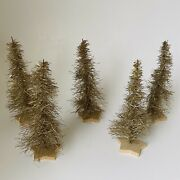 Vintage Christmas Trees Gold Tinsel Wire Aluminum Set Of 5 Germany 6andrdquo Star Base