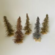 Vintage Christmas Trees Tinsel Wire Aluminum Set Of 5 Germany 6andrdquo Star Wood Base