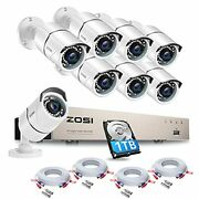 Camera Security System 8 Channel And 1tb Hdd Hard Drive 4 Pack 60ft Cctv Cable New
