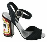 Dolce And Gabbana Shoes Womenand039s Black Crystals Led Lights Sandals Eu36/us6