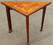 Antique 19th C French Dutch Marquetry Inlaid Folding Card Game Table Console