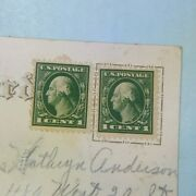Rare Two George Washington 1 Cent Stamps On Antique Easter Embossed Postcard