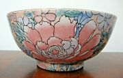 Asian Bowl Large 10 Hand Painted Pastel Flowers Vintage