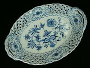 Meissen Blue Onion Porcelain Oval Serving Dish Handled Basket Oval Mark 11 3/8and039and039