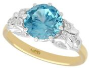 Vintage 3.53 Ct High Zircon And 0.12 Ct Diamond 18 Ct Yellow Gold Dress Ring 1960s