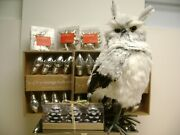 Winter Farmhouse Owl Mercury Glass Lights - Candles- And Silver Ornaments Set 7