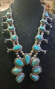 Vintage Native American Sterling Bisbee Turquoise Squash Blossom