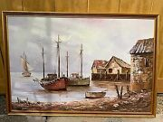 Nautical Fishing Boats Dock Oil Painting By W. Bardone